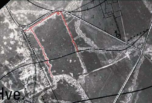 Warped onto a survey map to identifify locations, roads, and buildings etc. July 1915.