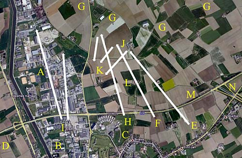 Satelite photo. The area of the counterattack of 23 Apr 1915 at 16.25.